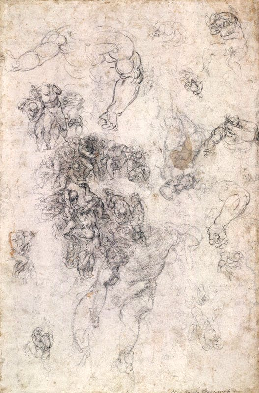 Studies for the Last Judgement (1534), Michelangelo. British Museum