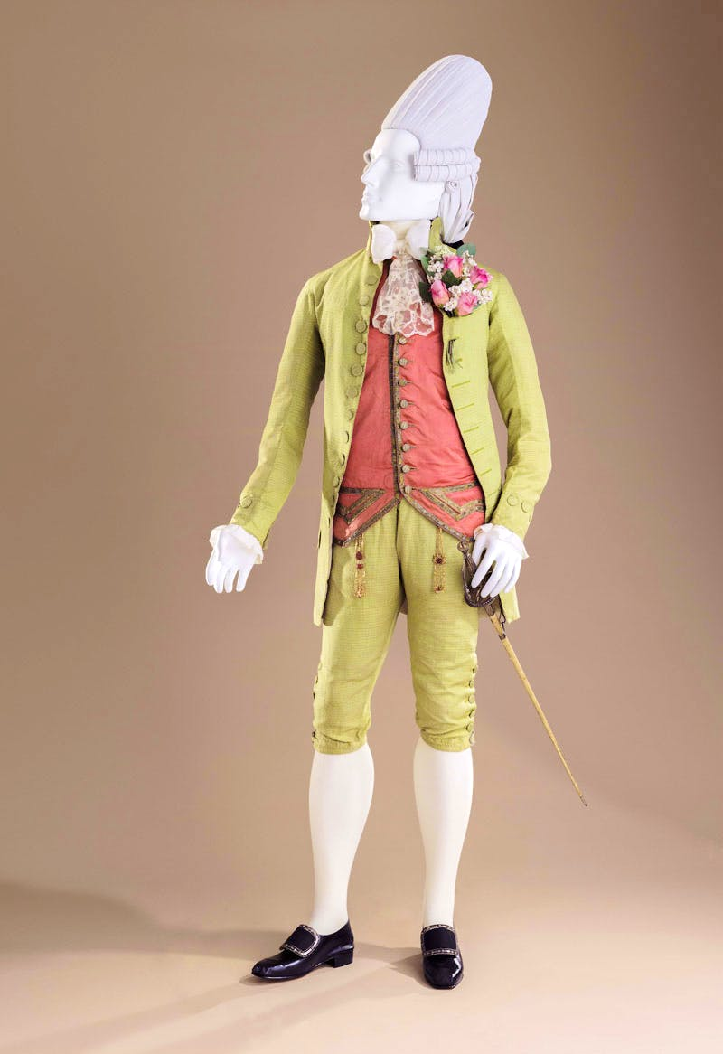 Macaroni ensemble: Suit (c. 177), Italy, probably Venice; Waistcoat (c.1770), France; Sword with sheath (late 18th century), France.