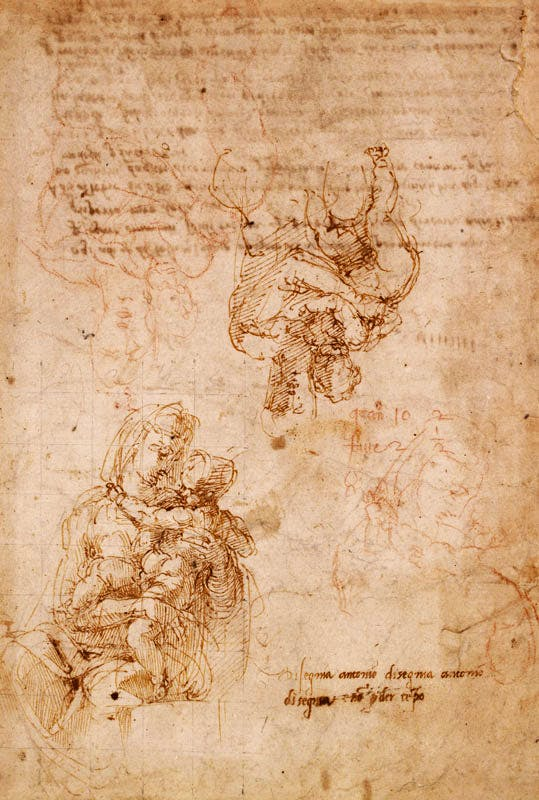 Studies of the Virgin and Child (c. 1522–24), Michelangelo. Pen and brown ink, with copies in red chalk by Antonio Mini. British Museum