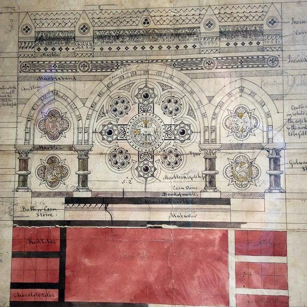 Drawing by Thomas Hardy of an altarpiece in All Saints Church, Windsor. It is not clear whether the design is by Hardy, or whether he was executing someone else's design.