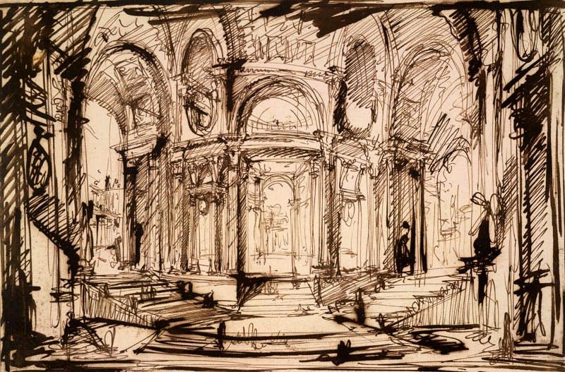 Interior of a circular building (1752–60), Giovanni Battista Piranesi. British Museum