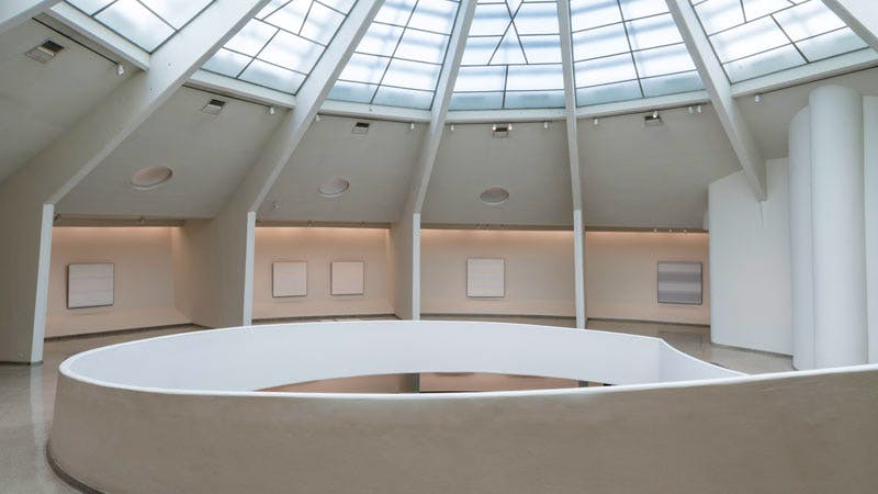 Installation view: 'Agnes Martin' at the Solomon R. Guggenheim Museum, New York, 7 October, 2016–11 January 2017. Photo: David Heald © Solomon R. Guggenheim Foundation