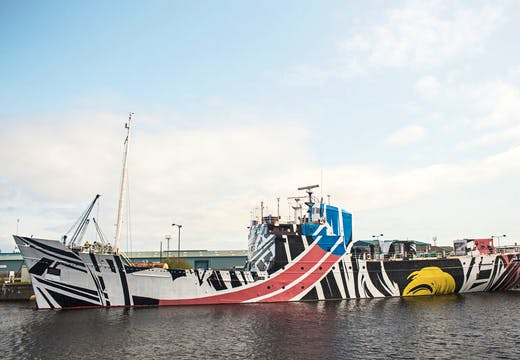 Dazzle Ship Scotland Every Woman (2016), Ciara Phillips. Photo: Ross Fraser McLean/ Studio RoRo