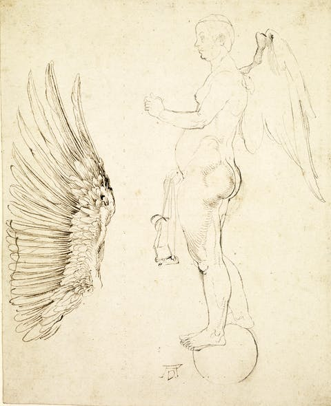 Sketch for the winged figure of Fortune