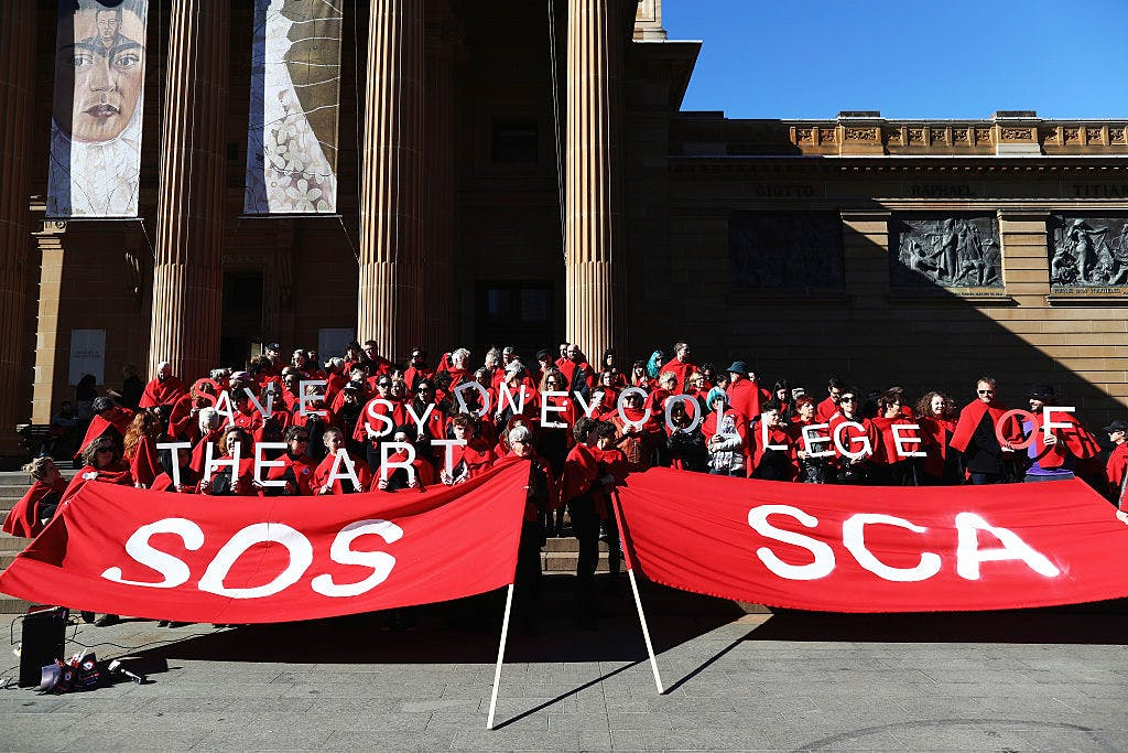 Art students and protesters gather at the Gallery of NSW on 15 July, 2016 in Sydney, Australia