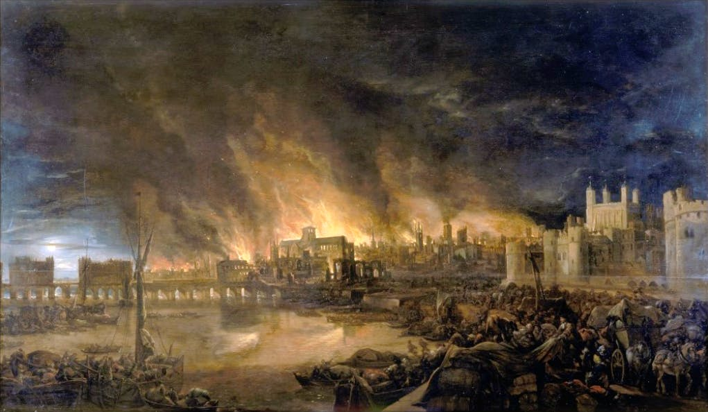 Detail of the Great Fire of London by an unknown painter. Photo: Wikimedia Commons