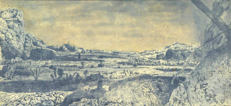 Mountain Valley with Fenced Fields,