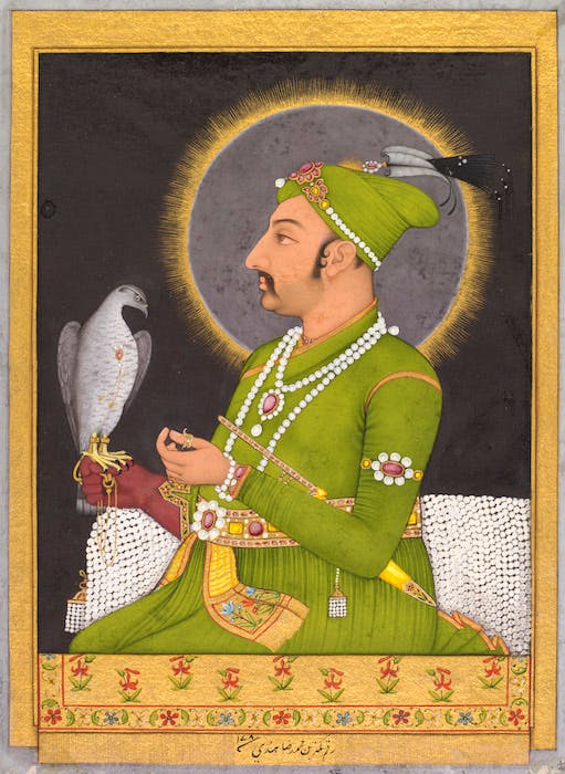Posthumous portrait of the Mughal emperor Muhammad Shah (1719–48) holding a falcon