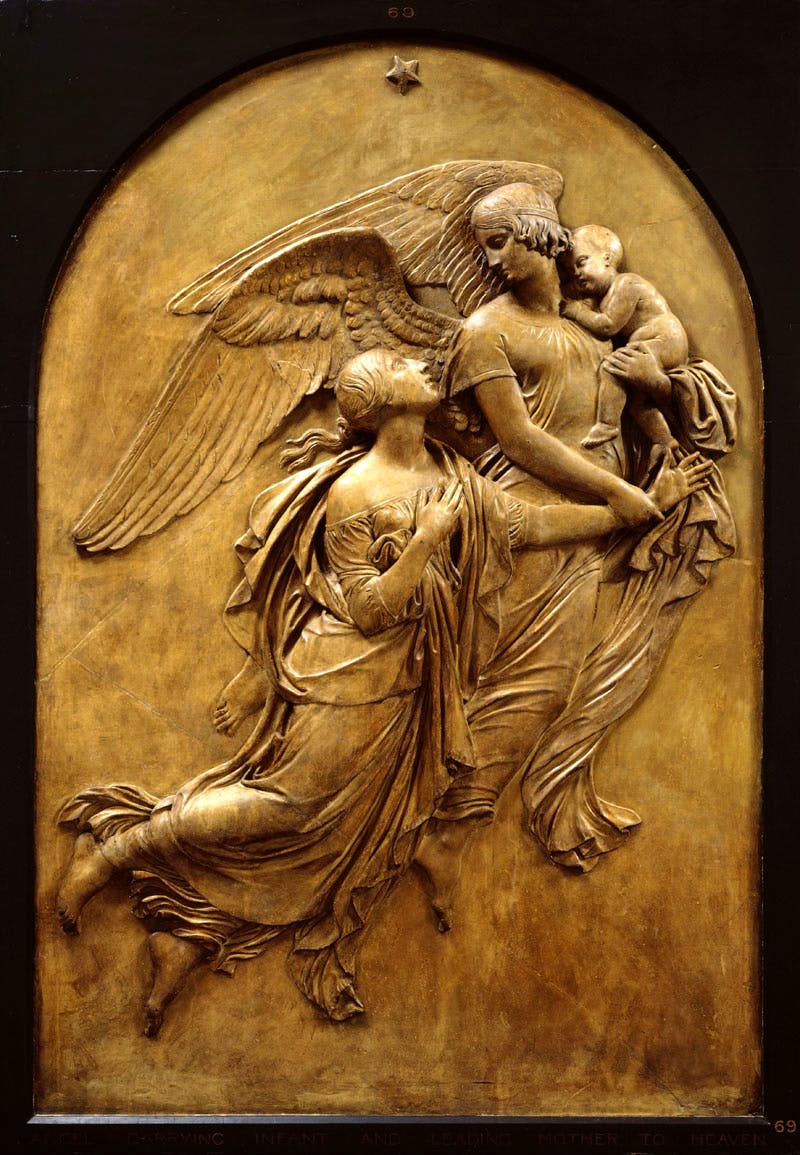 Monument to Lady Leicester: Angel carrying infant and leading mother to heaven (c. 1844), John Gibson. Photo © Royal Academy of Arts, London