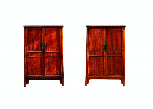 A pair of huanghuali and spotted bamboo scholar's cabinets, 17th century