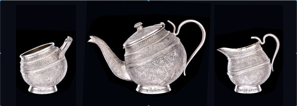 Silver tea service (three parts), c. 1880, Srinagar, Kashmir, India.