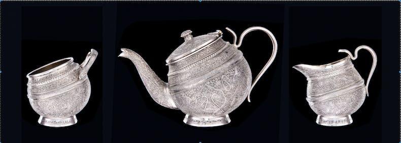 Silver tea service (three parts), c. 1880, Srinagar, Kashmir, India.