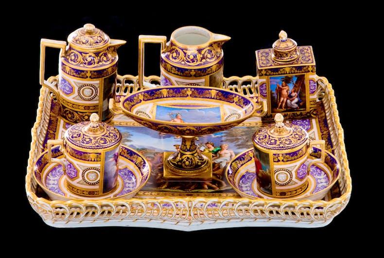Royal Vienna lavender-ground tea set, c. 1820, Austria.
