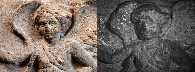 Detail of the base of the Ramtha Vishnai sarcophagus showing the winged death demon (L). Enhanced VIL image of the winged death demon (R). This relatively new infrared technique is used to reveal pigment traces.