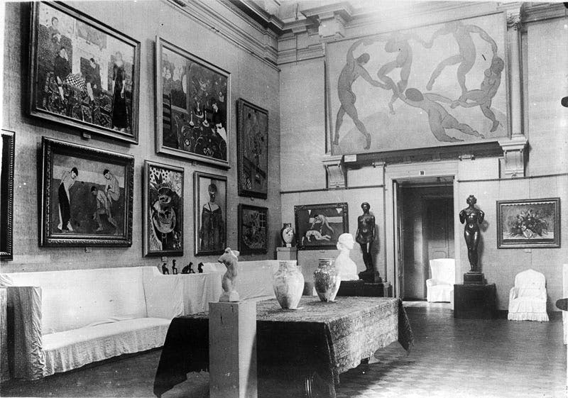 Interior of Sergei Shchukin's house, showing Henri Matisse's La Danse (1910).