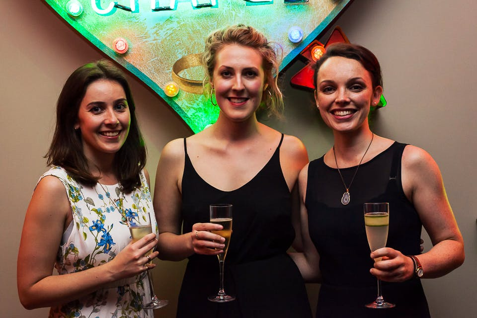 Lucy Rogers-Coltman, Imelda Barnard and Maggie Gray at the Apollo 40 Under 40 party, in association with Sophie Macpherson Ltd.