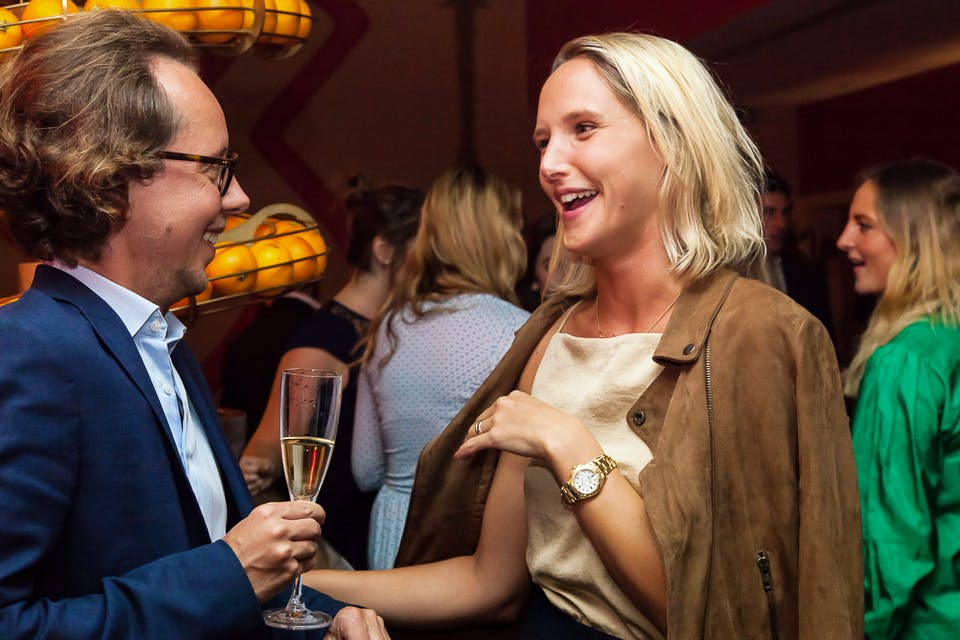 Philippe Piessens and Ottilie Windsor at the Apollo 40 Under 40 party, in association with Sophie Macpherson Ltd.