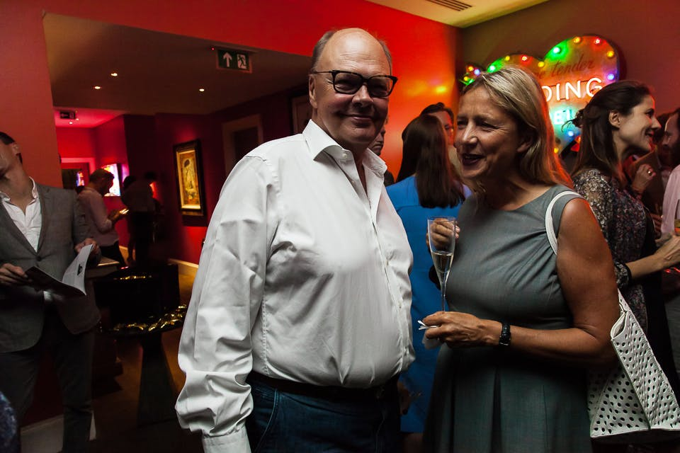 Nicholas Logsdail and Iwona Blazwick at the Apollo 40 Under 40 party, in association with Sophie Macpherson Ltd.