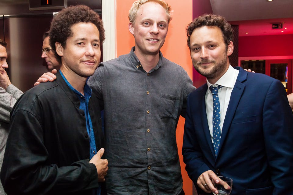 Michael Armitage, Nick Goss and Thomas Marks at the Apollo 40 Under 40 party, in association with Sophie Macpherson Ltd.