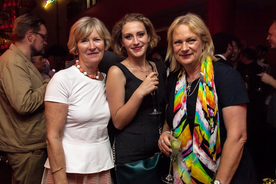 Georgina Adam, Nancy Dew Mathews and Louisa Buck at the Apollo 40 Under 40 party, in association with Sophie Macpherson Ltd.