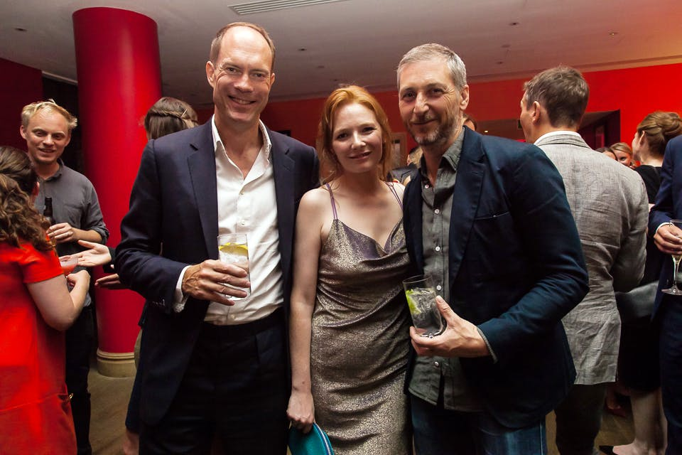 Harry Blain, Rosanna Cundall and Charming Baker at the Apollo 40 Under 40 party, in association with Sophie Macpherson Ltd.