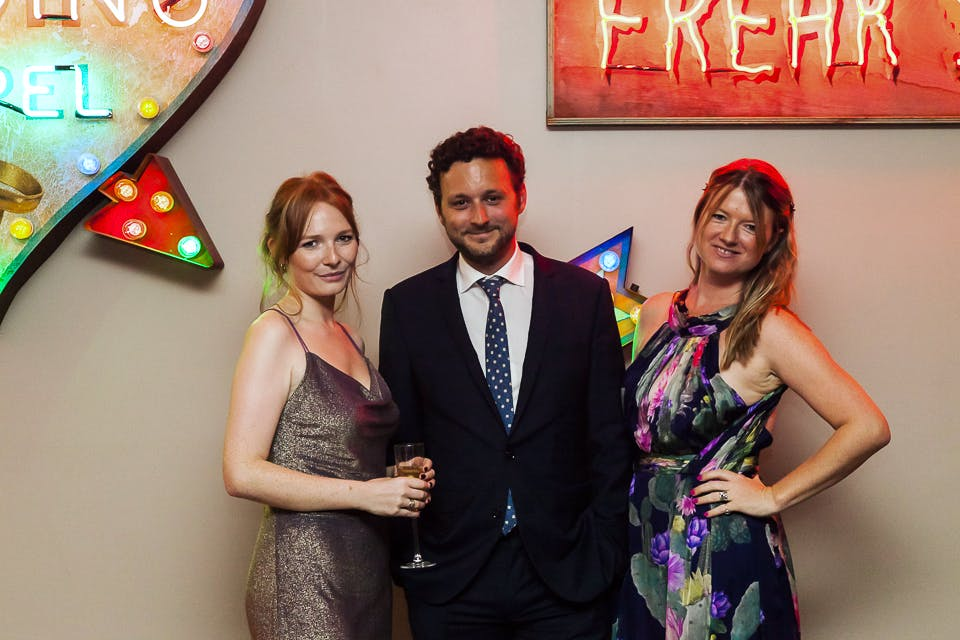 Rosanna Cundall, Thomas Marks and Sophie Macpherson at the Apollo 40 Under 40 party, in association with Sophie Macpherson Ltd.