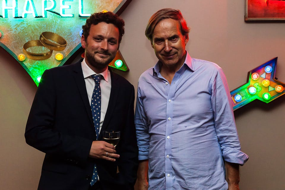 Thomas Marks and Simon de Pury at the Apollo 40 Under 40 party, in association with Sophie Macpherson Ltd.