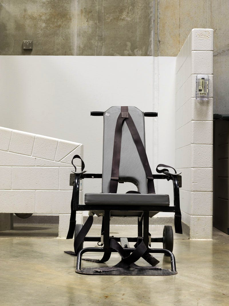 Guantanamo: If the Light Goes Out. Camp 6, Mobile force-feeding chair; from the series Guantanamo: If the Light Goes Out. © Edmund Clark; courtesy of Flowers Gallery, London and New York