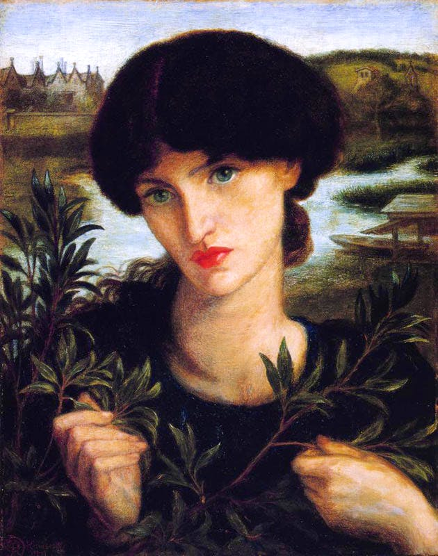 Water Willow (1871), by Dante Gabriel Rosetti is a portrait of Jane Morris. Kelmscott Manor can be seen in the background on the left.