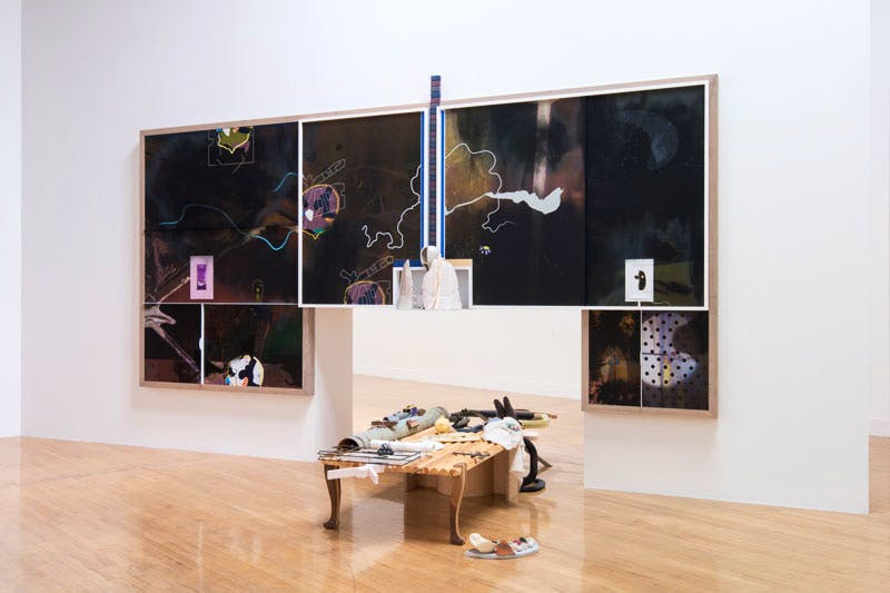 Helen Marten's installation at the 'Turner Prize 2016', Tate Britain. Courtesy Joe Humphrys © Tate Photography