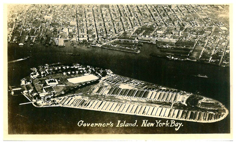 Historic postcard of Governors Island during the First World War era.