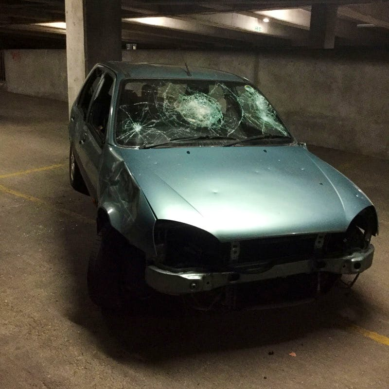 Author Stephen Bayley decided to baptise his book 'Death Drive' with a night of performance art in which guests were invited to destroy a beaten up old Saab...