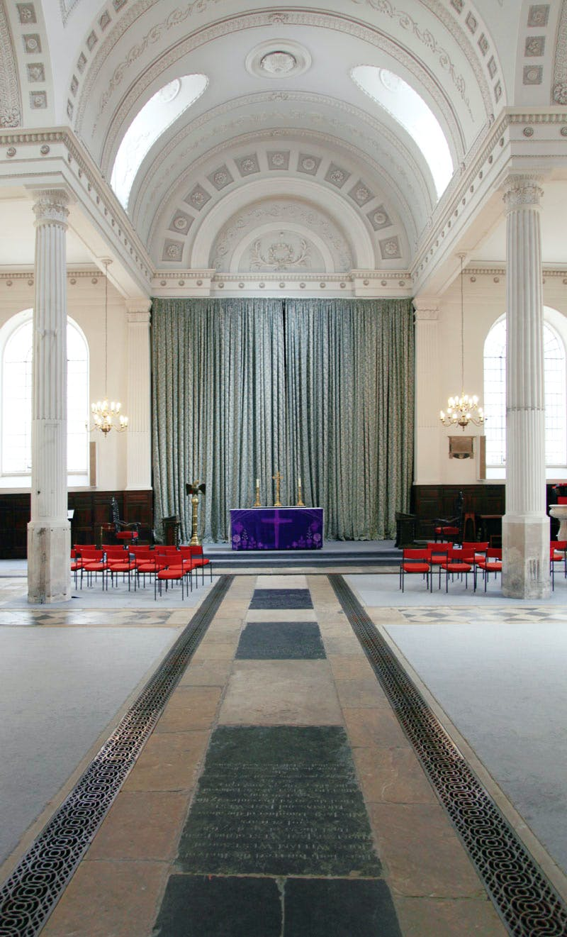 The interior of St Mary-at-Hill in its current state of partial restoration. Photo: Will Martin, 2014