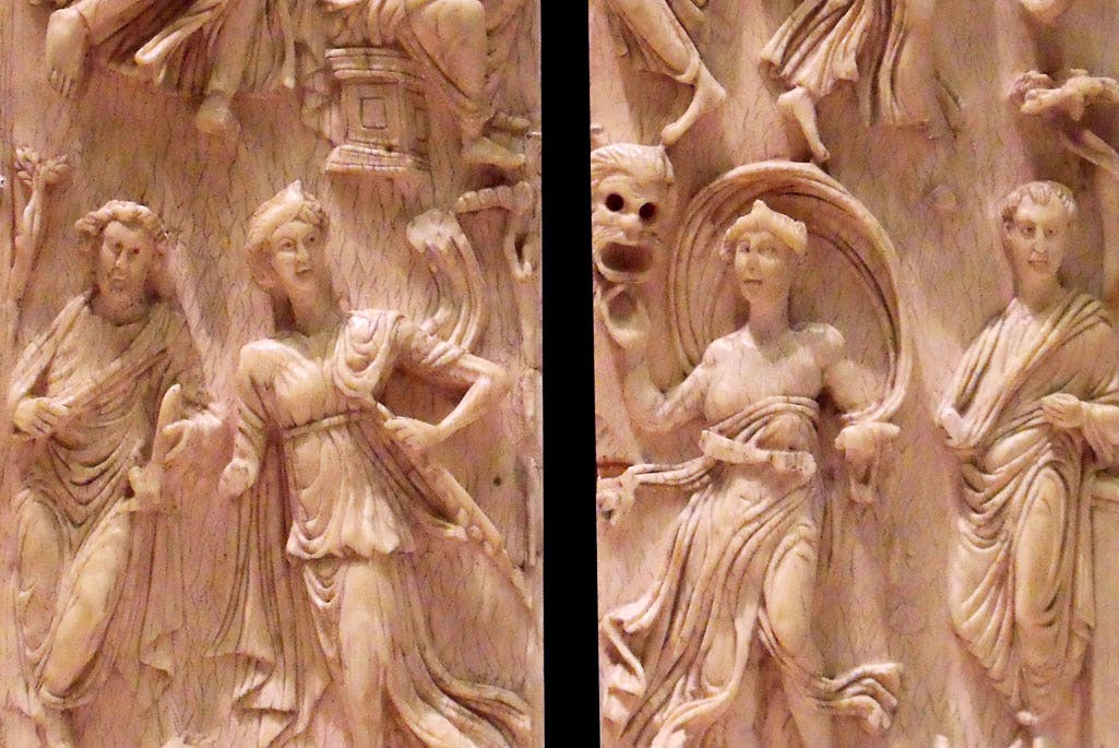 Ivory diptych showing images of the muses together with ancient scholars or scientists (5th century), possibly Gaul. Musée du Louvre.