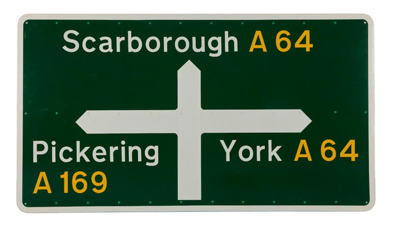 Jock Kinneir and Margaret Calvert's British road signs.