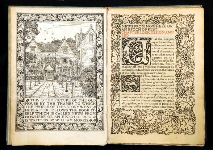 News From Nowhere (1893), Kelmscott Press; Charles March Gere; William Morris