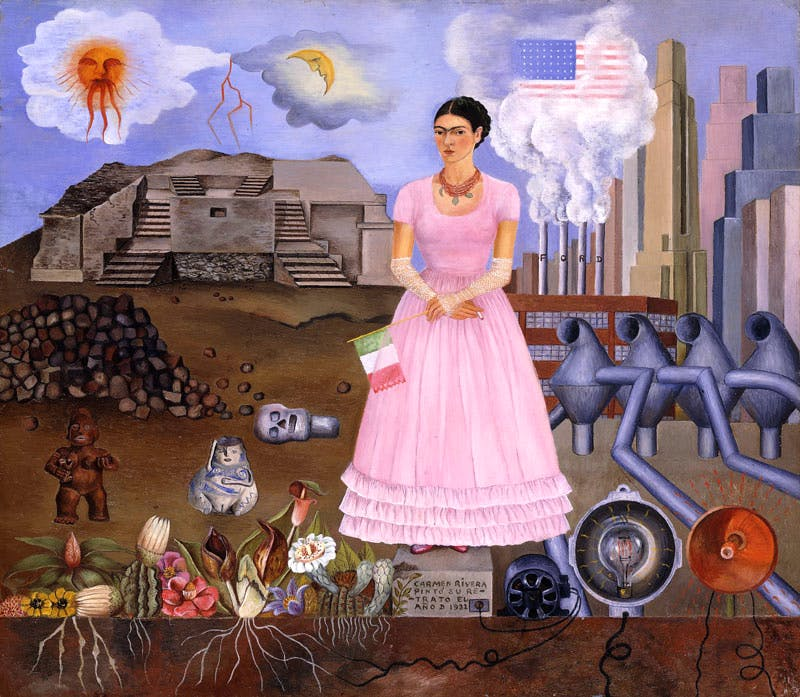 Self-Portrait on the Border Line Between Mexico and the United States (1932), Frida Kahlo. © Banco de México Diego Rivera Frida Kahlo Museums Trust, Mexico, D.F./Artists Rights Society (ARS), New York