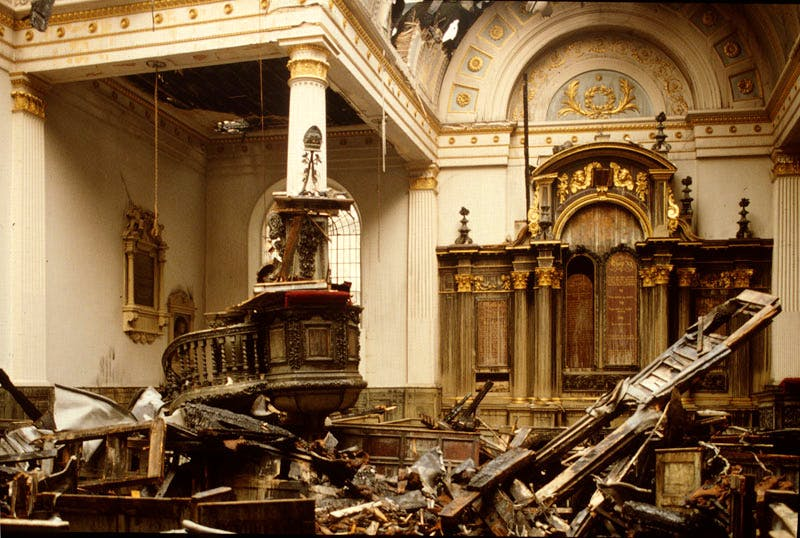 St Mary-at-Hill photographed on 12 May 1988, two days after a fire had destroyed most of the roof. Apollo magazine.