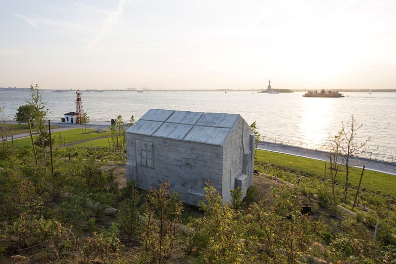 Cabin (2016), Rachel Whiteread, on Discovery Hill, Governors Island. Photo by Tim Schenck.