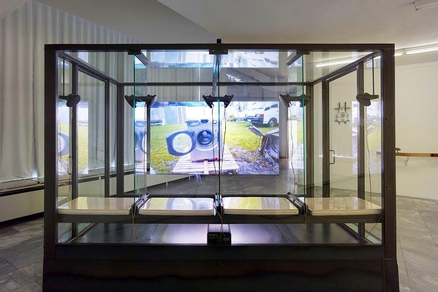Installation view of 'Betamale Trilogy (Class Cabin)' (2015, Jon Rafman. Photo: Simon Vogel; courtesy Julia Stoschek Collecktion; © Jon Rafman/Future Gallery, Berlin