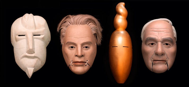 Simon Starling's (b. 1967) masks of Ezra Pound (after Henri Gaudier-Brzeska), W.B. Yeats, Nancy Cunard (after Constantin Brancusi) and Henry Moore. Courtesy the artist and The Modern Institute/Toby Webster Ltd, Glasgow/Henry Moore; photo: Ruth Clark