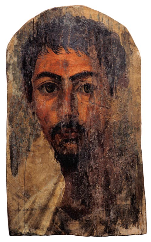 An Egyptian encaustic on wood mummy portrait of a bearded man (Hadrianic period, 2nd century AD). Christie's New York, estimate $100,000–$150,000