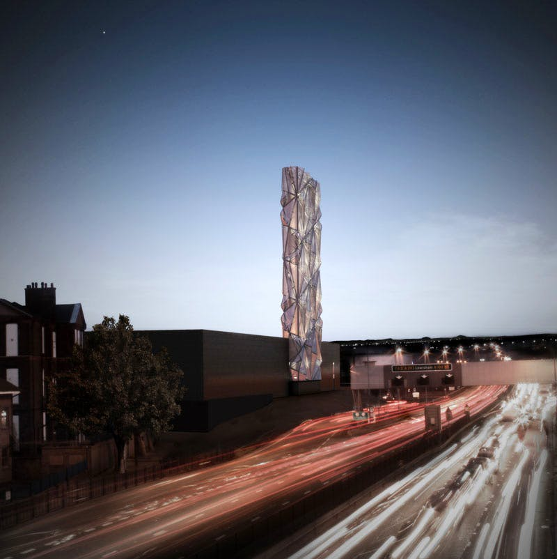 Night rendering of The Optic Cloak (2015), Conrad Shawcross