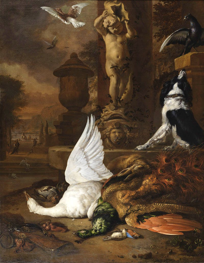 Still life with a dead swan, a peacock and a dog next to a fountain
