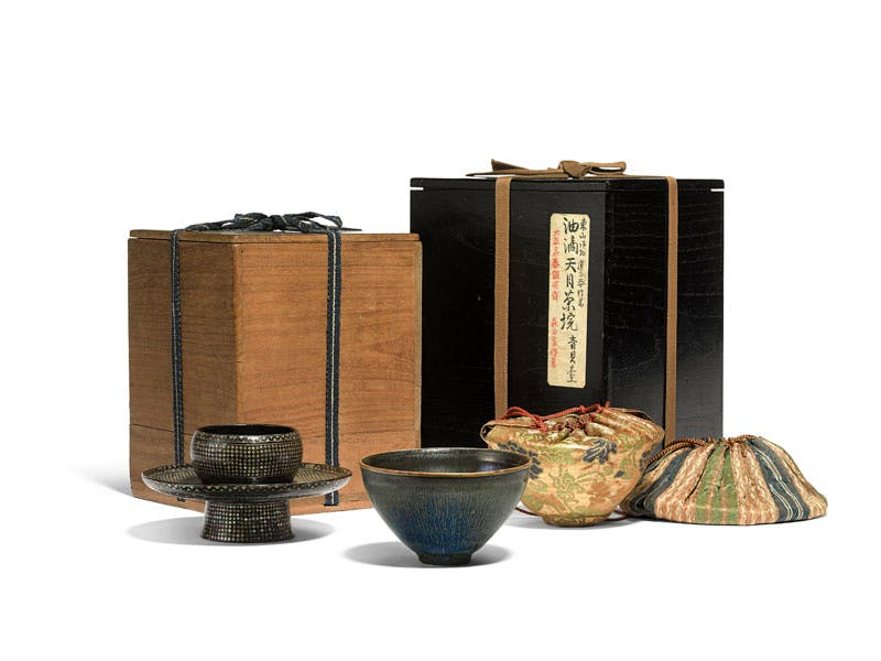 nogime tenmoku tea bowl, Southern Song dynasty (1127–1279), with stand, pouches and boxes.