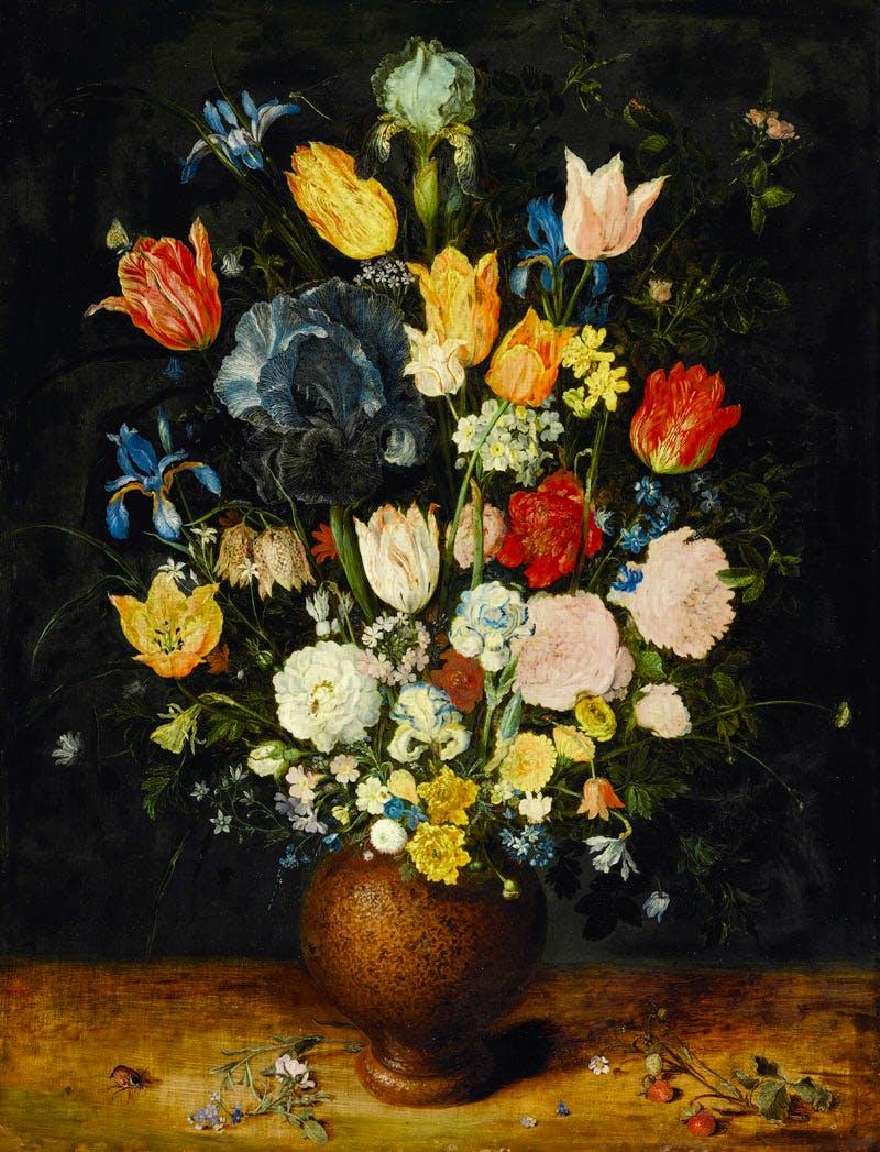 Still Life of Flowers in a Stoneware Vase (c.1607–08), Jan Brueghel the Elder. Sotheby's London, £3.8m. Apollo Magazine Art Market Review