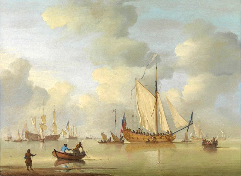 An English Royal Yacht Standing Offshore in a Calm (detail; c. 1730), Peter Monamy, Yale Center for British Art