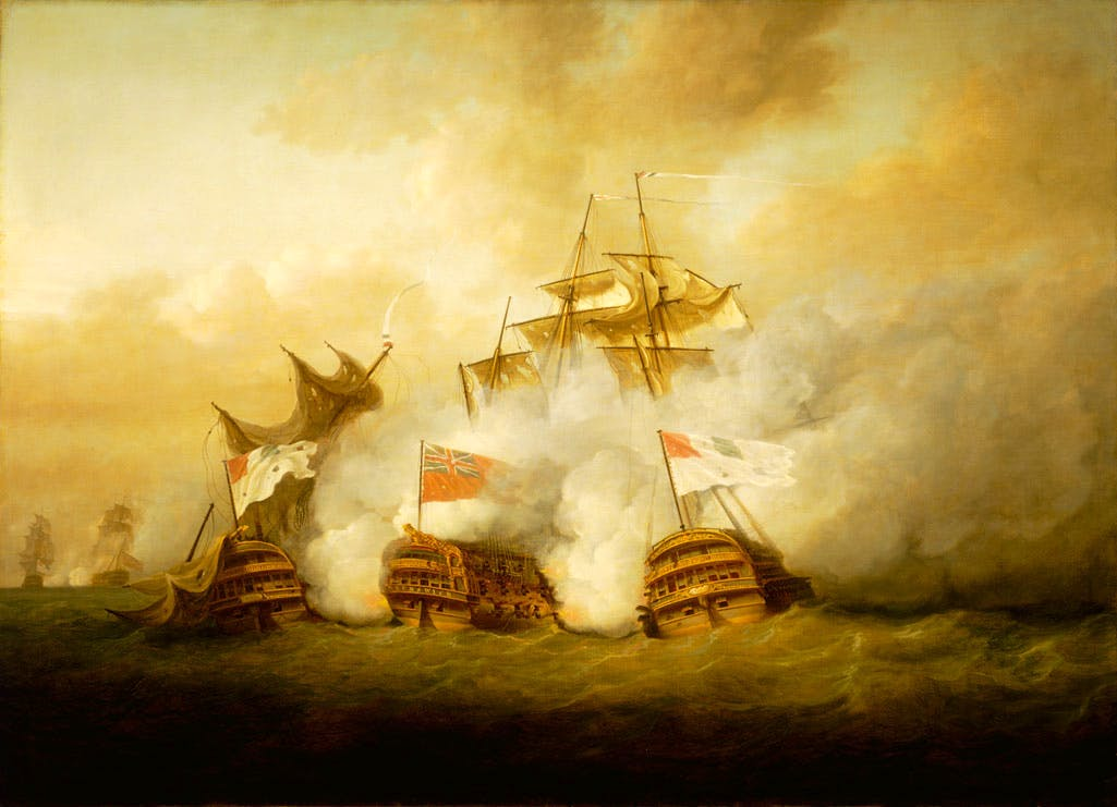 The Brunswick and the Vengeur du Peuple at the Battle of the First of June, 1794 (1795), Nicholas Pocock. National Maritime Museum, Greenwich