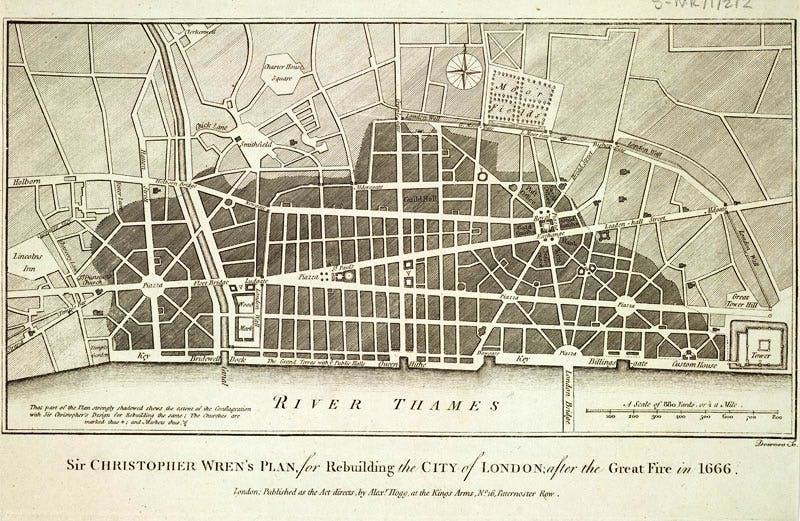 Sir Christopher Wren's plan for rebuilding the City of London following the Great Fire of 1666