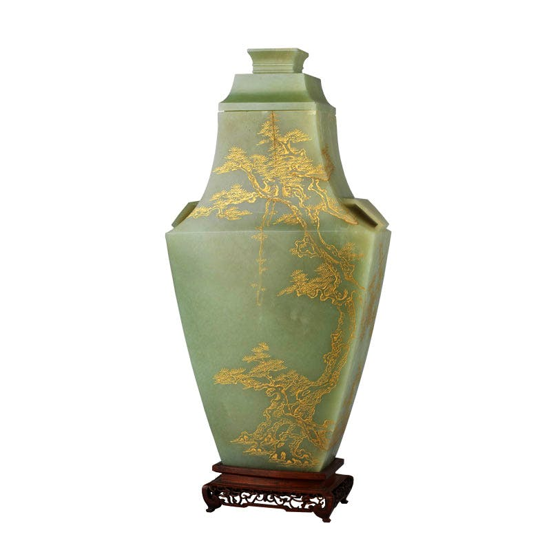 Vase, cover and wood stand, Chinese, reign of Qianlong. The Royal Collection